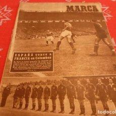 Coleccionismo deportivo: MARCA(21-6-49)EN COLOMBES FRANCIA 1 ESPAÑA 5 !!!VALENCIA VENCE A SOCHAUX Y STADE FRANÇAIS,ZARAGOZA.. Lote 114280599