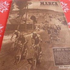 Coleccionismo deportivo: MARCA(12-7-49) JOE DIMAGGIO(BEISBOL U.S.A.) DON SANTIAGO BERNABEU.¿FUTBOL CON BIGOTE?. Lote 114282267