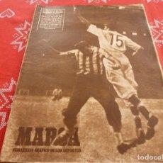 Coleccionismo deportivo: MARCA(2-8-49)EN BURGOS PARTIDO VIEJAS GLORIAS FUTBOL ESPAÑOL,MANNHEIM-DORTMUND FINAL COPA,BEISBOL. Lote 114441467