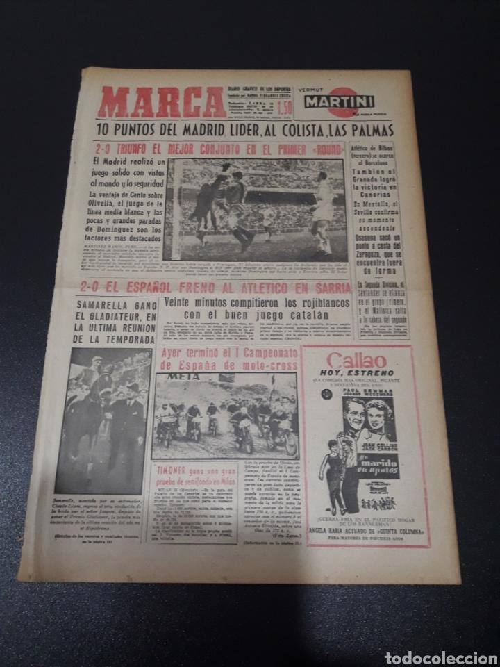 Coleccionismo deportivo: MARCA. 30/11/1959. R.MADRID,2 - BARCELONA,0. RESUMEN JORNADA LIGA N° 11. - Foto 1 - 115090368