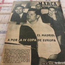 Coleccionismo deportivo: MARCA(2-6-59)HOMENAJE MIGUEL,AT.MADRID 6 NOTTINGHAM 1,PAZOS,MAÑANA FINAL COPA EUROPA R.MADRID-REIMS. Lote 115490891
