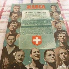 Coleccionismo deportivo: MARCA(20-2-51)!!!ESPAÑA 6 SUIZA 3 !!! MURCIA 8 STADE FRANÇAIS 0, FOTO LA SELECCIÓN ESPAÑOLA.. Lote 116597399