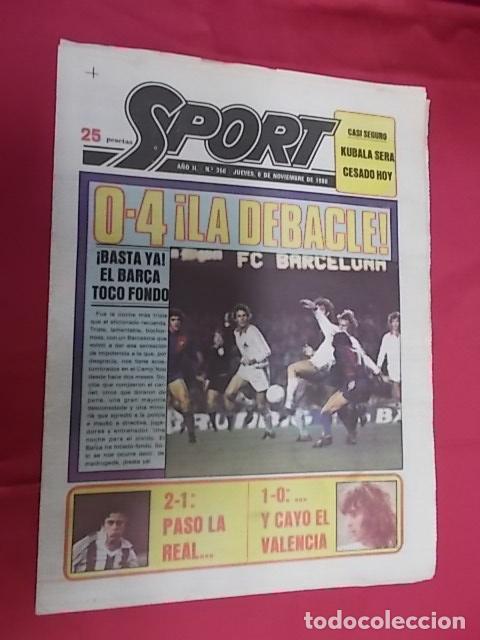 SPORT Nº 350. 6 NOVIEMBRE 1980. 0-4¡ LA DEBACLE !. ¡ BASTA YA ! EL BARÇA TOCO FONDO (Coleccionismo Deportivo - Revistas y Periódicos - Sport)