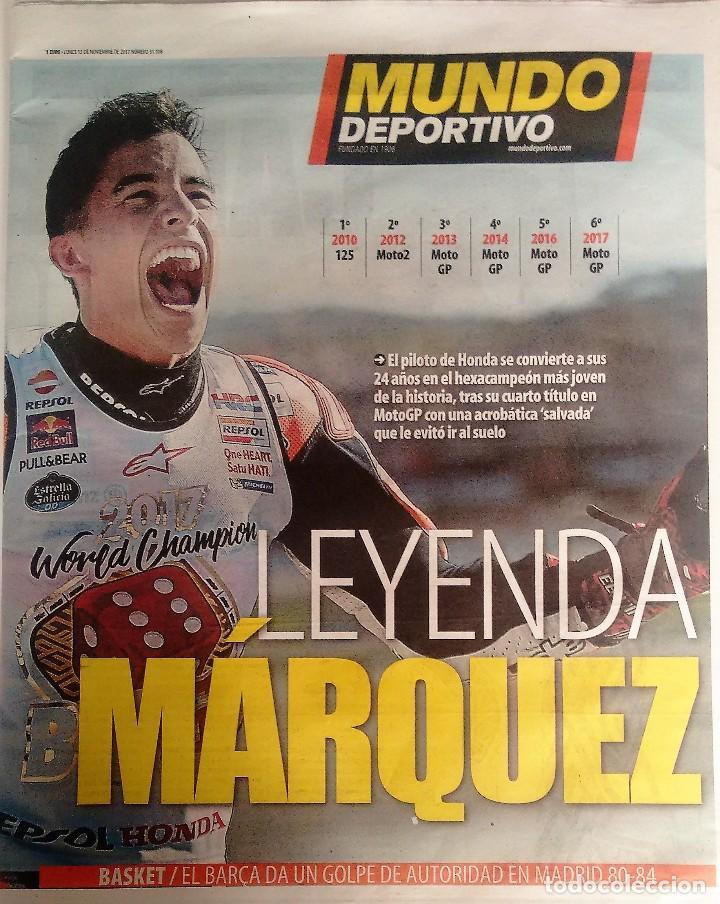MUNDO DEPORTIVO, MARQUEZ 6 VECES CAMPEON (Coleccionismo Deportivo - Revistas y Periódicos - Mundo Deportivo)