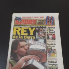 Coleccionismo deportivo: SPORT. N° 9.219. 6/06/2005. NADAL, CAMPEÓN DE RONALD GARROS CON SÓLO 19 AÑOS.. Lote 117191684