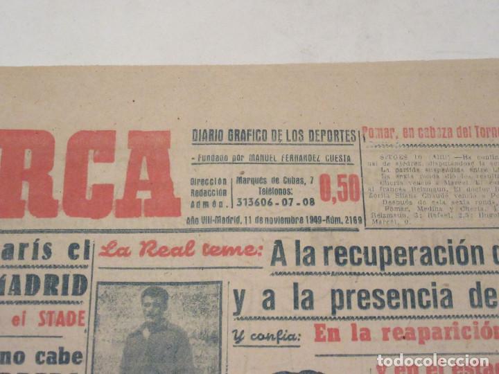 Coleccionismo deportivo: Marca. Diario Gráfico de los Deportes. Número 2169. 11 de noviembre de 1949. - Foto 2 - 118583595