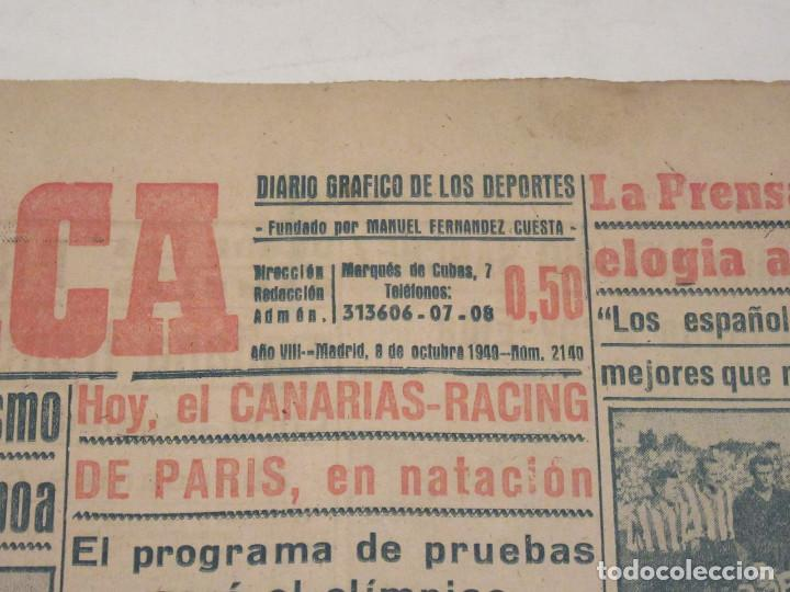 Coleccionismo deportivo: Marca. Diario Gráfico de los Deportes. Número 2140. 8 de octubre de 1949. - Foto 2 - 118586179