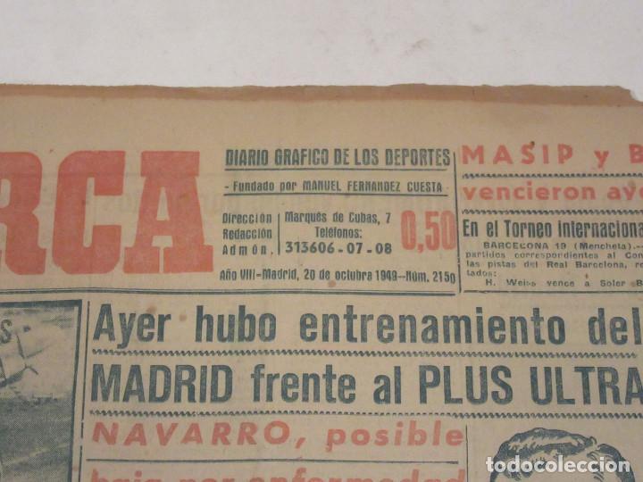 Coleccionismo deportivo: Marca. Diario Gráfico de los Deportes. Número 2150. 20 de octubre de 1949. - Foto 2 - 118587199
