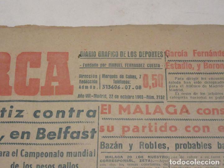 Coleccionismo deportivo: Marca. Diario Gráfico de los Deportes. Número 2152. 22 de octubre de 1949. - Foto 2 - 118587339