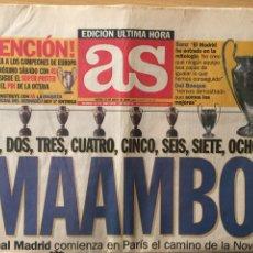 Coleccionismo deportivo: AS.25/5/2000. FINAL CHAMPIONS.R.MADRID,3-VALENCIA,0. Lote 118782375