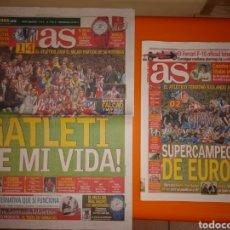 Coleccionismo deportivo: DOS PERIÓDICOS AS DE LAS SUPERCOPAS DE EUROPA DEL ATLÉTICO. Lote 155536210