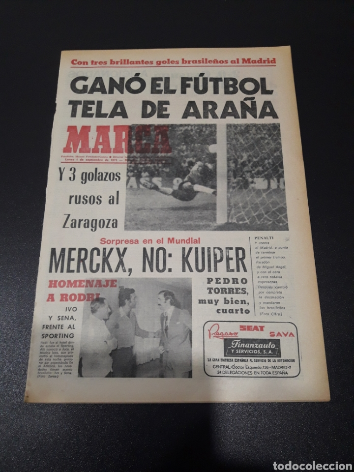 MARCA. 1/09/1975. FINAL CARRANZA. PALMEIRAS,3 - R.MADRID,1. ZARAGOZA,3 - DINAMO KIEV,0. (Coleccionismo Deportivo - Revistas y Periódicos - Marca)