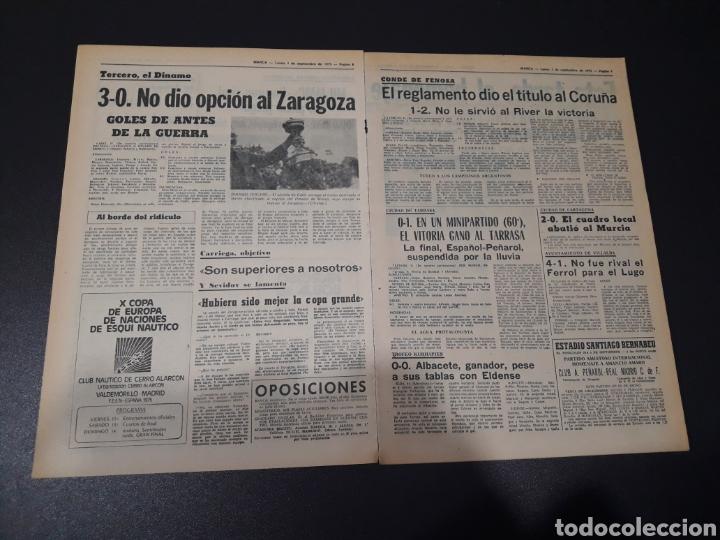 Coleccionismo deportivo: MARCA. 1/09/1975. FINAL CARRANZA. PALMEIRAS,3 - R.MADRID,1. ZARAGOZA,3 - DINAMO KIEV,0. - Foto 4 - 119047214