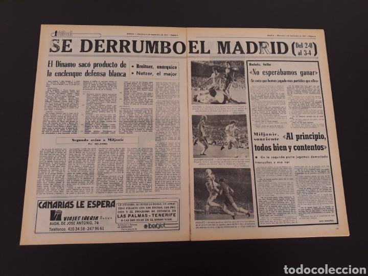 Coleccionismo deportivo: MARCA. 4/09/1974. REAL MADRID,3 - DINAMO ZAGREB,4. - Foto 3 - 119097808