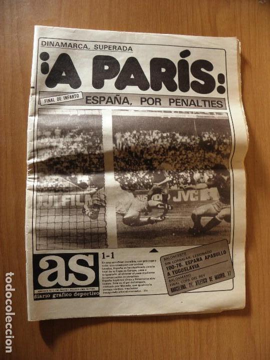 DIARIO AS ¡¡A PARIS!! ESPAÑA SE CLASIFICA PARA LA FINAL DE LA EUROCOPA 84 (Coleccionismo Deportivo - Revistas y Periódicos - As)