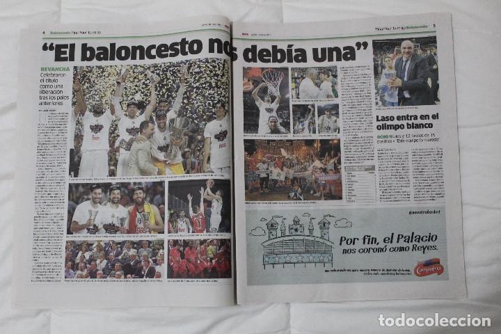 Coleccionismo deportivo: Diario MARCA. POR FIN LA NOVENA! REAL MADRID CAMPEÓN DE LA EUROLIGA 2015 BALONCESTO LA LIGA DE MESSI - Foto 3 - 51360619