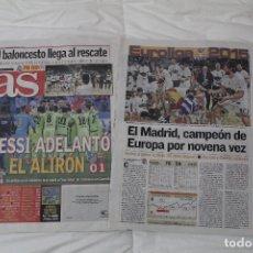 Coleccionismo deportivo: DIARIO AS. EL REAL MADRID GANA LA EUROLIGA 2015. MESSI ADELANTÓ EL ALIRÓN.. Lote 51361424