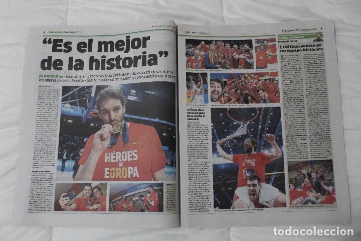 Coleccionismo deportivo: Diario Marca. 23/09/2015 España Campeón de Europa Baloncesto 2015 - Foto 3 - 51882898