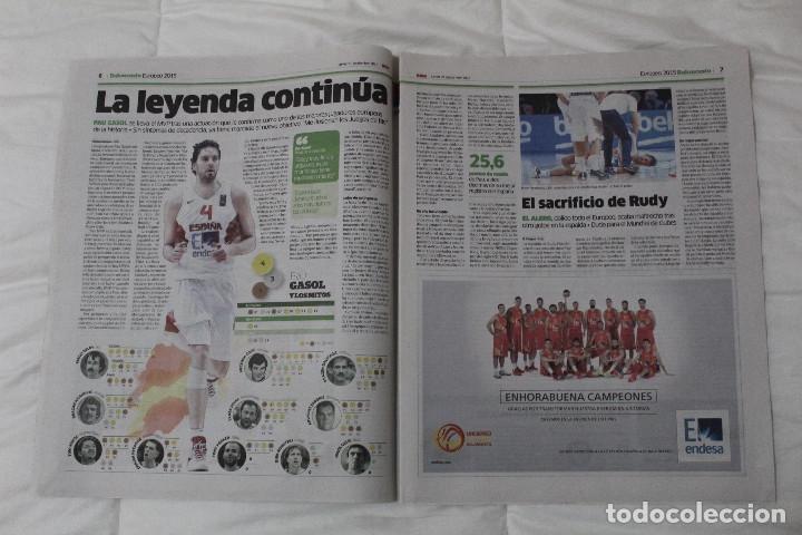 Coleccionismo deportivo: Diario Marca. 23/09/2015 España Campeón de Europa Baloncesto 2015 - Foto 4 - 51882898