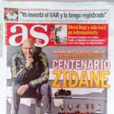 Coleccionismo deportivo: AS ZIDANE 100 PARTIDOS COMO ENTRENADOR DEL REAL MADRID. Lote 121951015