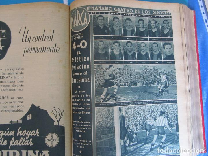 Coleccionismo deportivo: MARCA. SEMANARIO GRÁFICO DE LOS DEPORTES. 41 NÚMEROS EN UN SOLO VOLUMEN, 1942 1943. - Foto 6 - 122100175