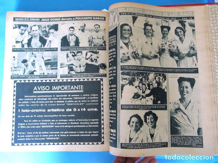 Coleccionismo deportivo: MARCA. SEMANARIO GRÁFICO DE LOS DEPORTES. 41 NÚMEROS EN UN SOLO VOLUMEN, 1942 1943. - Foto 10 - 122100175