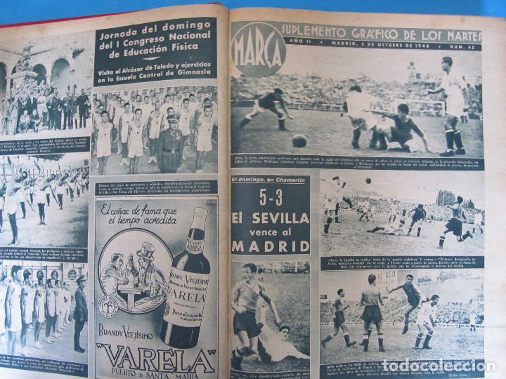 Coleccionismo deportivo: MARCA. SEMANARIO GRÁFICO DE LOS DEPORTES. 42 NÚMEROS EN UN SOLO VOLUMEN, 1943 1944. - Foto 2 - 122115391
