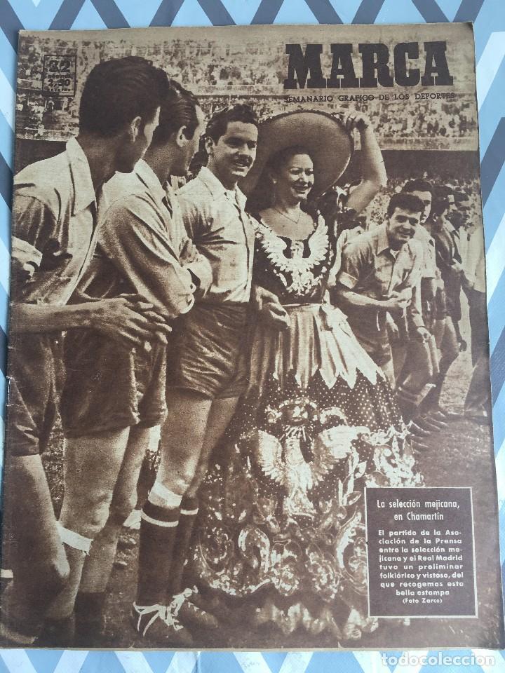 MARCA (29-11-49) REAL MADRID MEXICO FOTO PRIMER ATLETICO MADRID VIZCAYA ARENAS BODAS ORO BARCELONA (Coleccionismo Deportivo - Revistas y Periódicos - Marca)