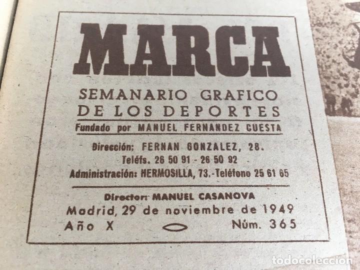 Coleccionismo deportivo: MARCA (29-11-49) REAL MADRID MEXICO FOTO PRIMER ATLETICO MADRID VIZCAYA ARENAS BODAS ORO BARCELONA - Foto 2 - 123531851