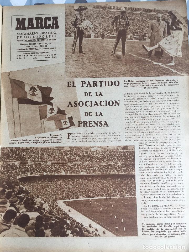 Coleccionismo deportivo: MARCA (29-11-49) REAL MADRID MEXICO FOTO PRIMER ATLETICO MADRID VIZCAYA ARENAS BODAS ORO BARCELONA - Foto 3 - 123531851