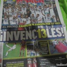 Coleccionismo deportivo: DIARIO PERIÓDICO MARCA 27 MAYO 2018 REAL MADRID CAMPEÓN EUROPA CHAMPIONS 13ª 13. Lote 123555967