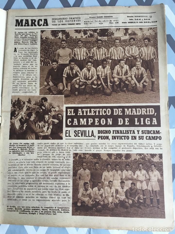 Coleccionismo deportivo: MARCA (24-4-51) ATLETICO MADRID CAMPEON LIGA EN SEVILLA POSTER RUGBY BARCELONA SEU DE MADRID - Foto 3 - 123862363