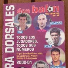 Coleccionismo deportivo: EXTRA DORSALES DON BALON PRIMERA DIVISION 2000/2001 - ESPECIAL BOLSILLO. Lote 125137339