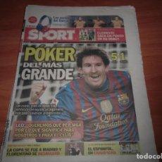 Coleccionismo deportivo: DIARIO SPORT Nº 11.649, 20-2-2012. BARÇA 5 - VALENCIA 1. Lote 125201307