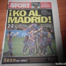 Coleccionismo deportivo: DIARIO SPORT Nº 11.624, 20-1-2012. BARÇA 2 - REAL MADRID 2 (VUELTA 1/4 FINAL COPA DEL REY). Lote 125201383