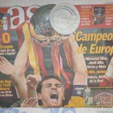 Coleccionismo deportivo: AS CAMPEONES DE EUROCOPA 2012 - PERIODICO PARTIDO FINAL EUROCOPA 2 DE JULIO ESPAÑA - ITALIA . Lote 162673168