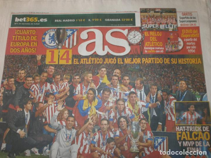 AS CAMPEÓN SUPERCOPA ATLÉTICO DE MADRID 1 DE SEPTIEMBRE 2012 - CELEBRACIÓN 2 DE SEPTIEMBRE (Coleccionismo Deportivo - Revistas y Periódicos - As)