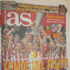 Coleccionismo deportivo: AS CAMPEÓN ATLÉTICO DE MADRID EUROPA LEAGUE JUEVES 10 DE MAYO 2012 AT MADRID 3 ATH- BILBAO 0. Lote 162673232