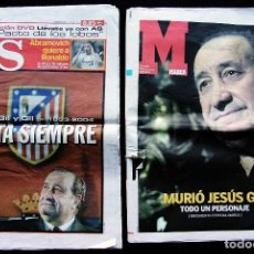 Coleccionismo deportivo: MUERE JESÚS GIL. PRESIDENTE DEL ATLETICO DE MADRID. PERIÓDICOS MARCA Y AS. 15 DE MAYO DE 2004. . Lote 142851942