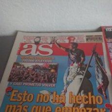 Coleccionismo deportivo: DIARIO PERIÓDICO AS MÁS CARTEL PÓSTER LA DÉCIMA DEL ATLÉTICO DE MADRID. Lote 132224203