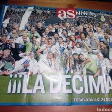 Coleccionismo deportivo: POSTER REAL MADRID PERIÓDICO AS LA DECIMA CHAMPIONS LEAGUE. Lote 132614163