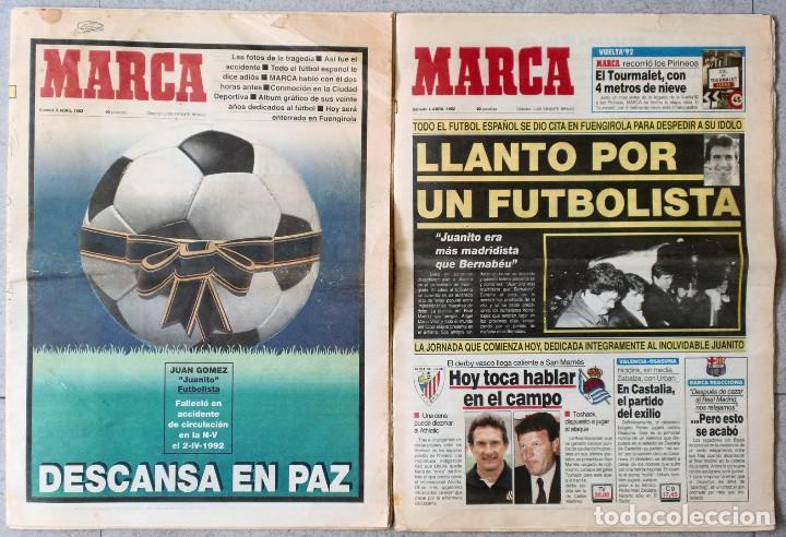 2 DIARIOS MARCA (3 Y 4 DE ABRIL DE 1992) MUERTE DE JUANITO - (Nº 15.808 + Nº 15.809) - REAL MADRID (Coleccionismo Deportivo - Revistas y Periódicos - Marca)