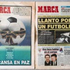 Coleccionismo deportivo: 2 DIARIOS MARCA (3 Y 4 DE ABRIL DE 1992) MUERTE DE JUANITO - (Nº 15.808 + Nº 15.809) - REAL MADRID. Lote 132622430
