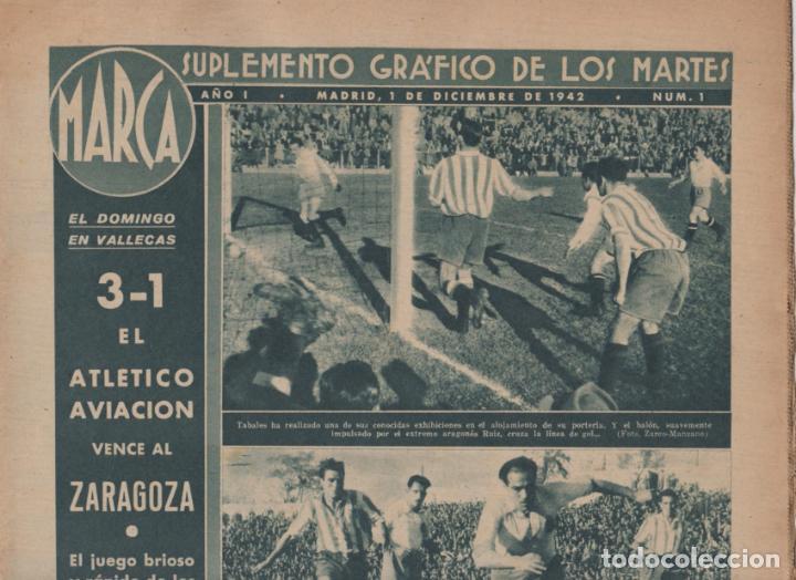 Coleccionismo deportivo: marca-- SUPLEMENTO GRÁFICO DE LOS MARTES -- Nº 1 -- 1/12/1942 - Foto 2 - 133043198