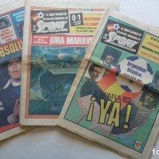 Coleccionismo deportivo: 3 SPORT DÍAS INAUGURACIÓN MUNDIAL 82 12/13/14 JUNIO 82 -ARGENTINA / BELGICA - PRESENTACIÓN MARADONA. Lote 133765694