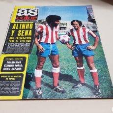 Coleccionismo deportivo: REVISTA AS COLOR, ALINHO Y SENA ,N°219, JULIO 1975, POSTER DEL CICLISTA BERNARD THEVENET. Lote 133853841