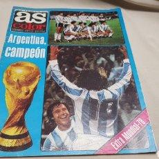 Coleccionismo deportivo: REVISTA AS COLOR, ARGENTINA CAMPEON, N° 371, JUNIO 1978, POSTER SELECCION ESPAÑOLA. Lote 133967529