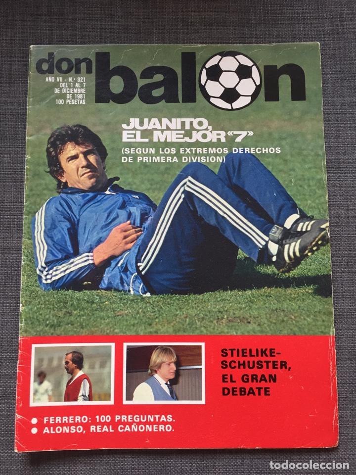 DON BALÓN 321 - JUANITO - STIELIKE - SCHUSTER - SEÑOR - AS MARCA MADRID - BARÇA ALBUM CROMO (Coleccionismo Deportivo - Revistas y Periódicos - Don Balón)