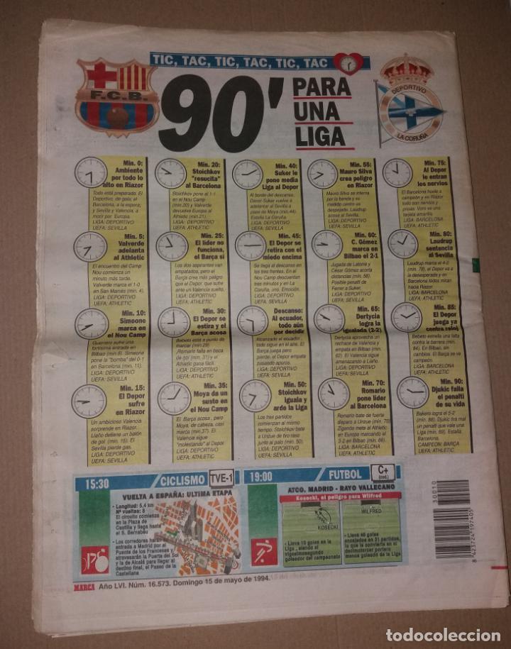 Coleccionismo deportivo: Periódico Marca. F.C. Barcelona campeón liga 1993-94. Póker, penalty Djukic - Foto 4 - 135733739