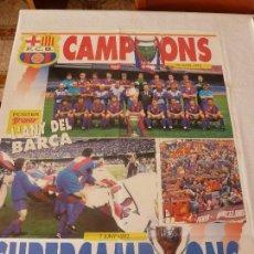 Coleccionismo deportivo: (ABJ)SUPERPOSTER(80X60)F.C.BARCELONA CAMPEÓN COPA DE EUROPA 1992 WEMBLEY-BARÇA. Lote 135758982